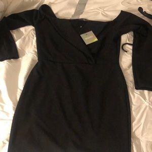 Black long sleeve fold over wrap dress
